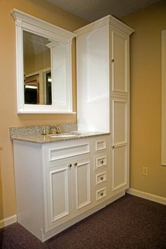 for small bathroom. cabinets floor to ceiling at end of sink  Could attach to shelving above toilet as well.   Would have to reverse layout.
