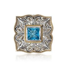Ross-Simons - 2.00 Carat Blue Topaz Ring In Sterling Silver and Vermeil - #536094