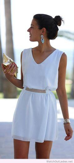 Simple summer white dress, I love the earrings