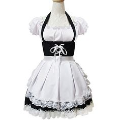 Cosplay Short Sleeve Short White Cotton Sweet Lolita Maid Dress Disfraz  Mucama e97bab8d5b1b