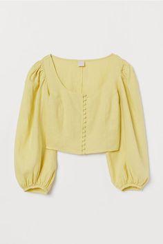 H&M Balloon-sleeved Linen Blouse - Yellow Blouse Jaune, Blouse En Lin, Yellow Blouse, Batik, Looks Vintage, Pull, Blouse Designs, Shirt Blouses, Summer Outfits