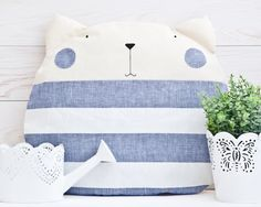 Blue Pillow Cat Decorative Pillow nursery decor Cat by JuliaWine