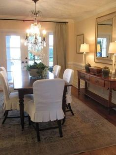 monogrammed slipcovers for dining chairs