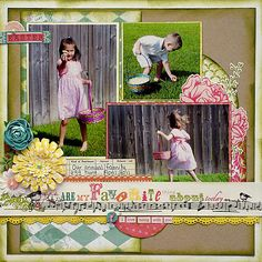 pretty layered, distressed Easter layout