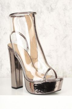 013e675c26d Sexy Pewter Clear Peep Toe Platform Pump Chunky Heel Booties Faux Leather   Platformpumps