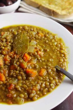 This is a speedy no-fuss one-pot lentil soup recipe. Loaded with veggies it is healthy super filling and incredibly delicious. It is on the weekly family menu all year long and it absolutely satisfies even the most terrible picky eaters. Lentil Soup Recipes, Vegetarian Recipes, Cooking Recipes, Healthy Recipes, Lentil Soup With Ham, Greek Lentil Soup Recipe, Lentil Meals, Healthy Soups, Healthy Lunches