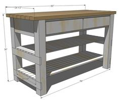 for a Kitchen Island w/ 2 shelves & 2 drawers. Site has building plans for bunches of DIY furniture. New board?Plans for a Kitchen Island w/ 2 shelves & 2 drawers. Site has building plans for bunches of DIY furniture. New board? Pallet Furniture, Furniture Projects, Kitchen Furniture, Rustic Furniture, Kitchen Decor, Kitchen Ideas, Diy Projects, Furniture Stores, Kitchen Rustic