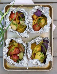 On the Cobb: In foil or in parchment pockets. Spread out on roast rack or stack if need to. Grilled Packet Potatoes - season the potatoes any way you would like or follow the recipe..