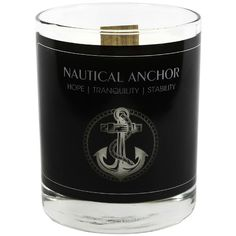 Nautical Anchor Large Candle, 9.75 oz (195 CNY) found on Polyvore featuring home, home decor, candles & candleholders, nautical theme home decor, nautical home accessories, gardenia scented candles, citrus scented candles and scented candles