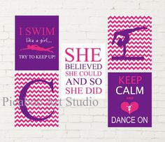 Keep calm, I swim like a girl, monogram art, cartwheel gymnast, gymnastics art, swimmer wall art, dance theme room decor, set of 5 prints Childrens Room Decor, Playroom Decor, Dance Themes, Girl Bedroom Walls, Name Letters, Cartwheel, Motivational Phrases, Kids Room Art, Sports Art