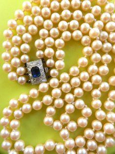 Elegant 1950's  Glass  Ivory Pearls 3 Strand by RAKcreations