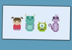 Monsters Inc. Pixar chibi - PDF pattern by cloudsfactory
