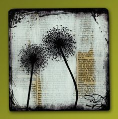 One 5, 6, 7 or 8 Square (You Choose!) Dandelion Love Handmade Glass and Wood Wall Blox from Repurposed Dictionary page book art - WilD WorDz -