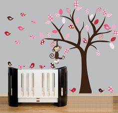 Flying birds nursery wall decal set with playful monkey -