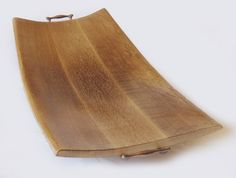 Cream Caramel tray large platter recycled oak wine barrel staves, solid antique brass handles