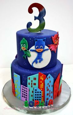 the 20 Best Ideas for Pj Mask Birthday Cake . P J Masks Cake Pj Masks Birthday Cake, Birthday Cake Kids Boys, 4th Birthday Parties, 3rd Birthday, Birthday Ideas, Neon Birthday, Birthday Cake Card, Torta Pj Mask, Pjmask Party