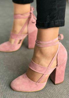 ♕Pink suede heels