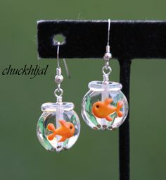 Glass Goldfish Bowl Lampwork N Crystals DeSIGNeR Earrings Sterling Silver So Fun and Unique. $40.00, via Etsy.