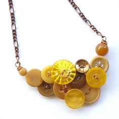 Vintage Button Necklace in Mustard Yellow and by buttonsoupjewelry, $29.00