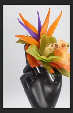 """This headpiece is a beautiful tropical Hawaiian themed flower headpiece. Each is made to order and each is one of a kind and completely unique. From the """"Private Collection"""" Line of Malama Pua. This piece features Spectacular Double blue and orange Bird of Paradise flowers, with beautiful """"Real Touch"""" Green Hawaiian double orchids, sunset Plumeria and tropical greenery. Plumeria is hand wired (not hot glued) with a beautiful Swarovski crystal. Bridal Hair Flowers, Flower Headpiece, Silk Flowers, Hawaiian Flower Hair, Paradise Flowers, Orange Bird, Flowers For You, Pua, Bride Hairstyles"""