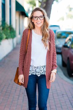 Street style, comfy outfit, fall outfit, spring outfit, casual outfit, cardigan outfit, fall layers, valentine's day outfit, casual valentine's day outfit, romantic outfit, cute outfit, back to school outfit - pink long cardigan, white lace top, skinny jeans, beige booties, brown tote