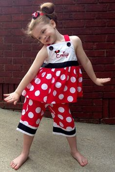 Disney Girl's Personalized Monogrammed Minnie Mouse Dress or Outfit in Red with Big White Dots Disney Dresses, Disney Outfits, Kids Outfits, Little Girl Dresses, Girls Dresses, Capri Outfits, Mouse Outfit, Short, Baby Dress