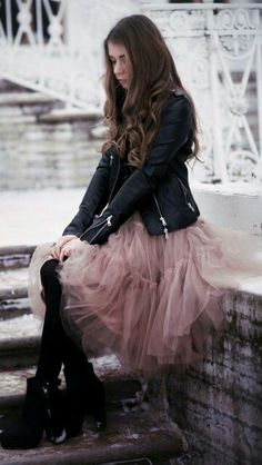 Tulle skirt with biker jacket