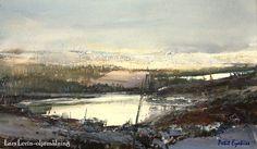 watercolour by Lars Lerin (b. 1954, Sweden)