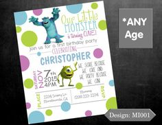 First Birthday Invitation Monsters Inc Birthday by InvitesbyAyssa