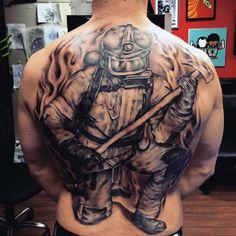Men& Firefighter Back Tattoo eagletattoos Cool Back Tattoos, Back Piece Tattoo, Back Tattoos For Guys, Awesome Tattoos, Firefighter Toys, Firefighter Apparel, Sweet Tattoos, 3d Tattoos, Tattos