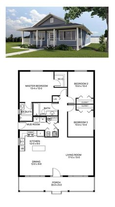 Small farmhouse plans · total living area: 1260 sq ft, 3 bedrooms and 2 bathrooms barn plans, House Plans One Story, Best House Plans, Dream House Plans, Dream Houses, House Plans 3 Bedroom, One Floor House Plans, 30x40 House Plans, Square House Plans, Small Floor Plans