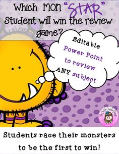 Personalize this presentation with any lesson from any subject! The interactive game at the end of the presentation makes practicing review questions fun☺ As teams answer questions correctly, the monster moves towards the door. The first team to answer 5 questions correctly Elementary School Counselor, Elementary Schools, Student Games, Powerpoint Games, Counseling Activities, Guidance Lessons, Review Games, Cooperative Learning, Activity Games