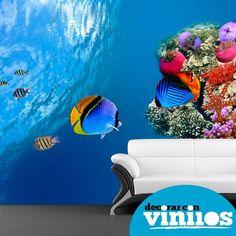mural decorativo en vinilos de peces
