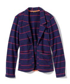 TOMBOY FLEECE JACKET: Midnight Blue #OakleyWomen #Oakley #winter #jacket #blazer #blue #red #stripes
