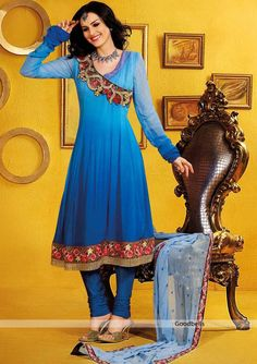 Shaded Blue Anarkali Suit | Kalidar pattern shaded salwar kameez   | Heavy embroidered designer neck pattern |