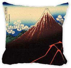 Rikki Knight® Katsushika Hokusai Art Lightning below the summit Microfiber Throw Décor Pillow Cushion 16' Square Double Sided Print (Insert Included)
