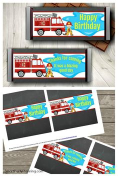 These fire fighter candy bar wrappers are perfect to use as party favors at your fireman party. With an instant digital download they are quick and easy to prepare. Available in 2 sizes,and the perfect item to add to your fireman party decorations. Diy Party, Party Favors, Party Ideas, Printable Water Bottle Labels, Fireman Party, Party Themes For Boys, Happy 2nd Birthday, Candy Bar Wrappers, Party Food And Drinks