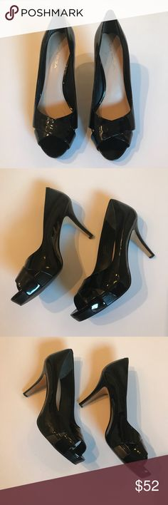Via Spiga Patent Leather Open Toe Pumps Heels Worn once, like new condition. Very comfortable. I reach for my other black pumps more, so these need a new home. I do not have the box.   Size 9 Genuine patent leather Via Spiga Shoes Heels