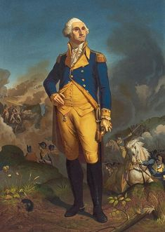 This is a full length print of General George Washington with a war scene in the background. All Poster, Posters, Thing 1, American Presidents, American Revolution, George Washington, New Kids, Printable Art, Fine Art America