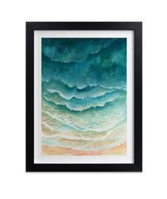 Beach waves get today's trendy ombré treatment in this calming print. This limited edition artwork comes in different shades of blue: Turquoise Sea, Caribbean Blue, and Indigo Blue. If you get it framed, you can choose between 11 frame styles.