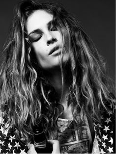 #erin Wasson #josh Olins #photography #black and white #fashion #model #stars #scarf #beer #bottle #nose ring #attitude #rock #hair #weavy