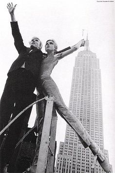 Andy Warhol and Edie Sedgwick with the Empire State Building New York New York NY #nyc