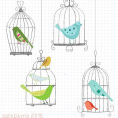 Some birdcages for tonight #illustration #birds #design