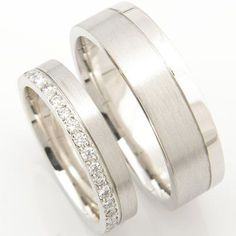 Both diamond cut with a brushed finish, one with added diamond sparkle – a beautiful platinum matching pair of wedding rings created by Form Bespoke …