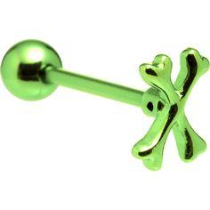 Green Crossbones Anodized Titanium Barbell #piercing #tonguering #bodycandy $7.99