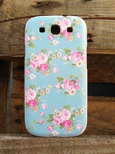 Samsung Galaxy S3 i9300 Blue Floral Case