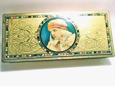 Vintage Tin Rudolph Valentino - Canco Beautebox.  via Etsy.