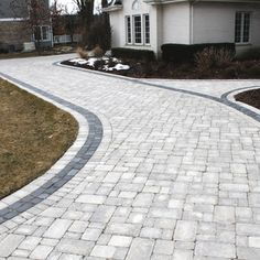 Paver Driveway with LEDs