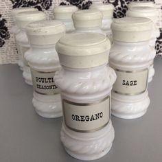 Vintage Milk Glass Spice Set by wonderfulathome on Etsy, $45.00 #vintage #milkglass #spices