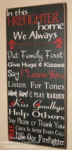 Firefighter House Rules Decor Distressed Wall Custom Wood Sign